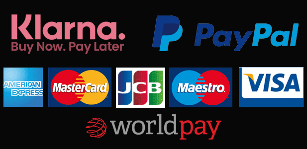 Payments securely processed by Worldpay, Klarna or Paypal